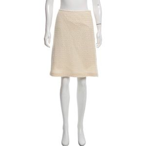 Piazza Sempione Skirt Wool Knee Length Knit Ivory